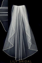 Exquisite Single Layer Wedding Veil with Diamante Beaded Edge