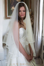 satin ribbon edge veil
