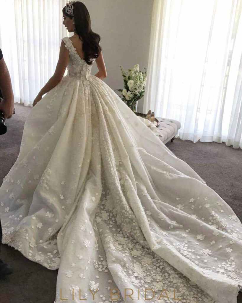 Off-the Shoulder with Floral Appliques wedding dress