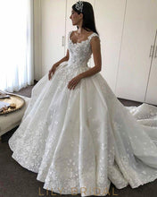 Ivory Wedding Dresses Off-the Shoulder with Floral Appliques