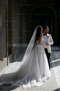 Fantastic Single Layer Chapel Veil in Silk Effect Tulle