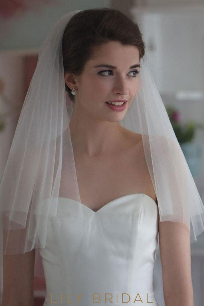 Fantastic Two Layer Silk Effect Cut Edge Elbow Wedding Veil