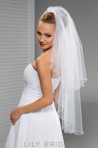 Fantastic Two Tier Hip Length Veil with  Crystals Edge