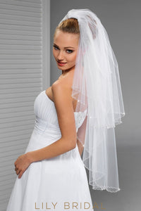 Fantastic Two Tier Hip Length Wedding Veil with Glittering Crystals Edge