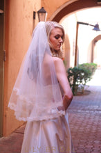 Fantastic Two Tier Waist Length Veil with Lace Edge