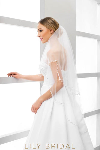 weeding veil with crystal beaded edge