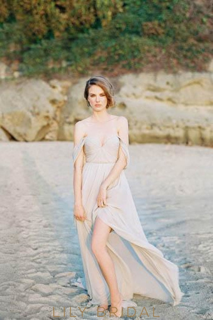 Boho Off Shoulder Long Ruched Slit Chiffon Beach Wedding Dress with Sweep Train