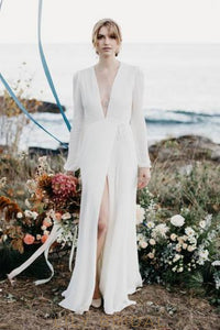 Deep V-Neck Long Sleeves Long Solid Sheath Chiffon Wedding Dress with Sweep Train