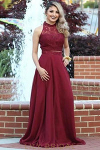 Elegant Lace Illusion High Neck Sleeveless Two Piece Long Solid Sheath Prom Dresses
