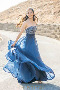 Elegant Beaded Strapless Sleeveless Floor-Length Organza Dark Navy Prom Dress