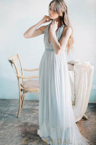 Boho Elegant V-Neck Sleeveless Long Solid Pleated Chiffon Beach Wedding Dress