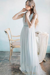 Elegant V-Neck Sleeveless Long Solid Pleated Chiffon Beach Wedding Dress