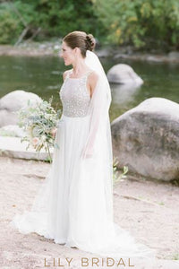 Rhinestone Beading Spaghetti Straps Sleeveless Backless Long Pleated Sheath Wedding Gown with Court Train