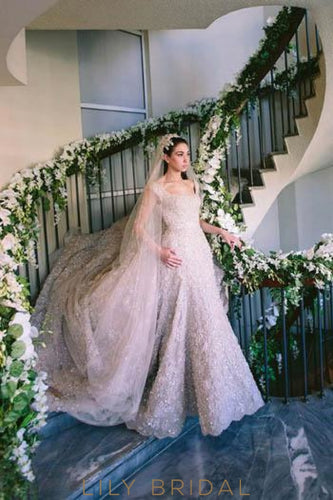 Beading Sequin Pearls Lace Square Neck Cap Sleeves Wedding Dress with Cathedral Train