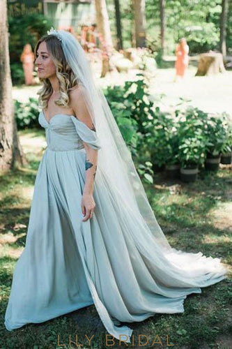 Off Shoulder Zipper-Up Long Solid Ruched Chiffon Wedding Gown with Sweep Train
