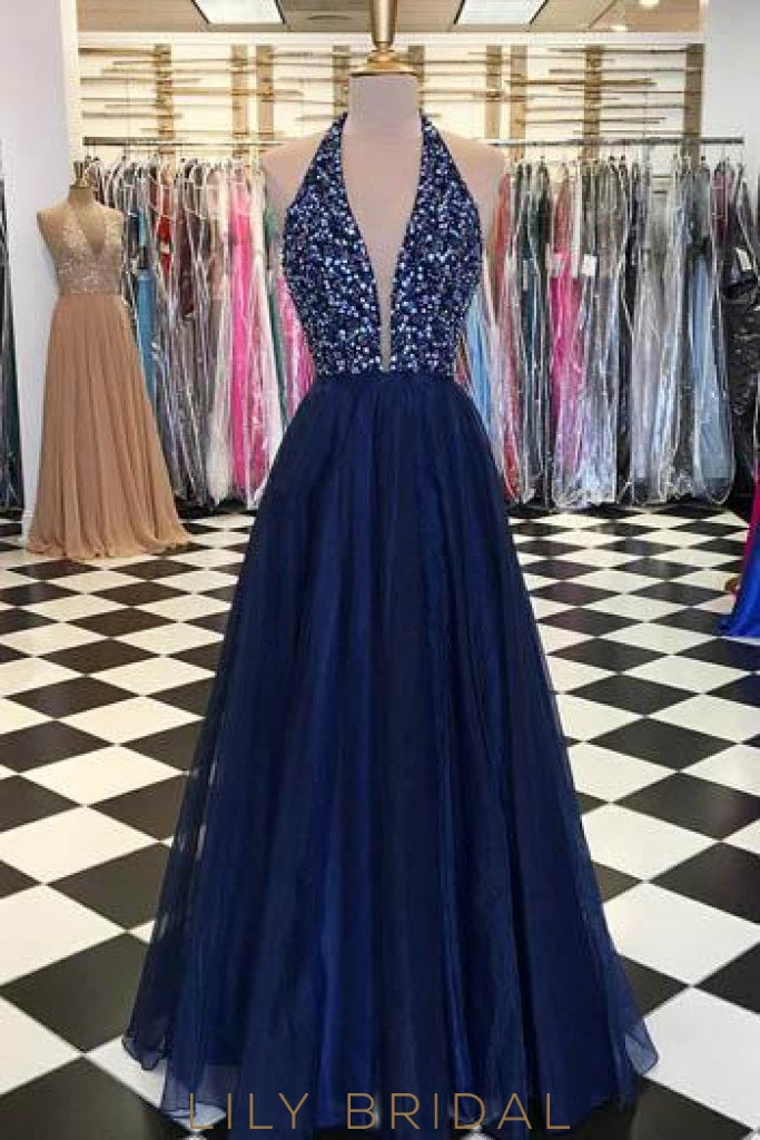 Beading Rhinestone Plunge Neck Sleeveless Floor-Length Solid Chiffon Evening Dress