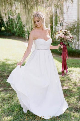 Beading Sweetheart Sleeveless Long Solid Ruched Wedding Dress with Sweep Train