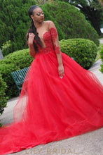 Sexy Beaded Illusion Sheer Neck Long Sleeves Long Solid Ball Gown Tulle Prom Dress