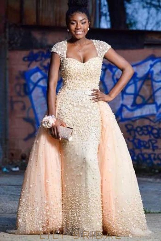 Luxury Beaded Cap Sleeves Long Ball Gown Tulle Evening Dress with Sweep Train