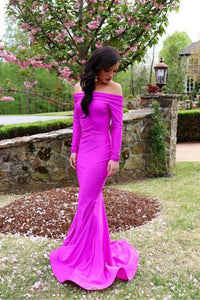 Elegant Off Shoulder Long Sleeves Long Solid Stretch Mermaid Evening Dress