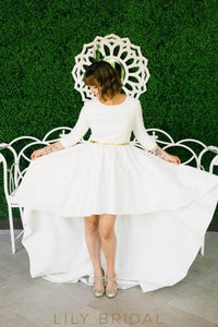 Elegant Scoop Neck Long Sleeves High-Low Solid Satin Wedding Dress with Belt