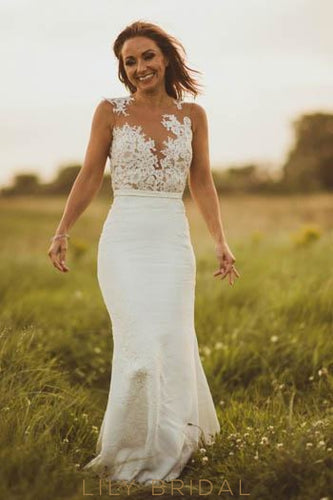 Lace Illusion Sheer Neck Sleeveless Long Solid Sheath Wedding Dress with Sweep Train