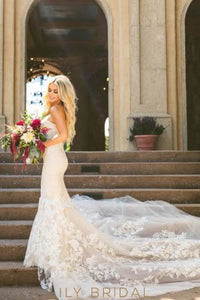 Lace Strapless Sleeveless Zipper-Up Long Mermaid Wedding Gown with Chapel Train
