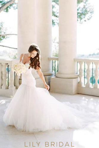 Lace Illusion Sheer Neck Sleeveless Long Mermaid Tulle Wedding Dress with Chapel Train