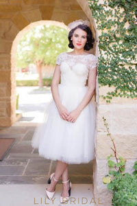 Elegant Lace Illusion Bateau Neck Short Sleeves Tea-Length Solid Tulle Wedding Dress