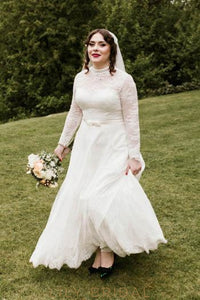 Elegant Lace Illusion High Neck Long Sleeves Ankle-Length Solid Sheath Wedding Dress