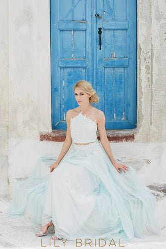Lace One Shoulder Sleeveless Two Piece Long Tulle Wedding Dresses with Sweep Train