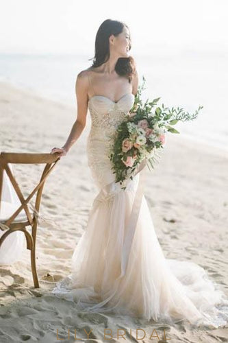 Boho Lace Spaghetti Straps Backless Long Tulle Mermaid Beach Wedding Dress