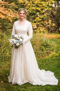Square Neck Long Sleeves Long Solid Pleated Sheath Wedding Gown with Court Train