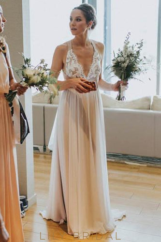 Lace Straps V-Neck Empire Open Back Long Boho Pleated Wedding Dress