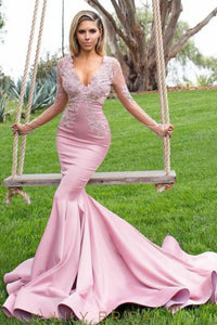 6622c72572c Elegant Lace Illusion Scalloped Edge Neck Long Sleeves Long Solid Mermaid Prom  Dress