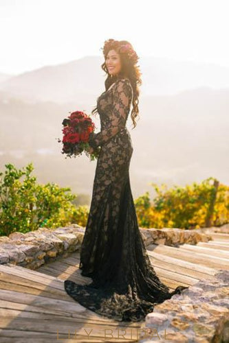 Lace Illusion Bateau Neck Long Sleeves Long Solid Sheath Black Wedding Dress with Court Train