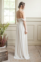 Ivory Chiffon Wedding Dress Off-The-Shoulder A-Line Chiffon Skirt