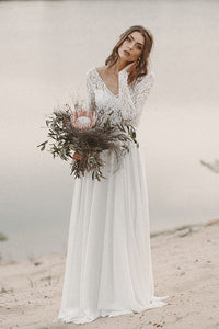 Elegant Lace Illusion V-Neck Long Sleeves Backless Long Chiffon Bridal Wedding Dress