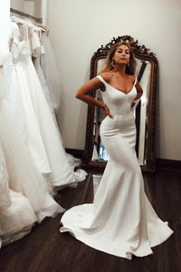Elegant Off the Shoulder Long Mermaid Bridal Wedding Dress with Sweep Train