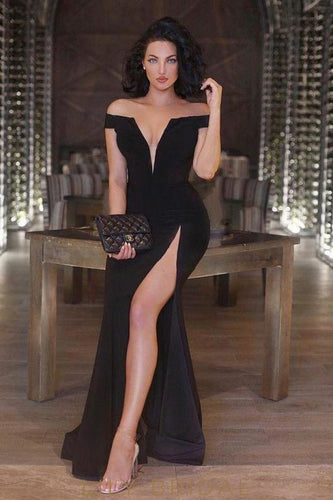 Fit and Flare Off-the-Shoulder Black Prom Dress With Sexy Thigh High Slit Deep V-Neckline