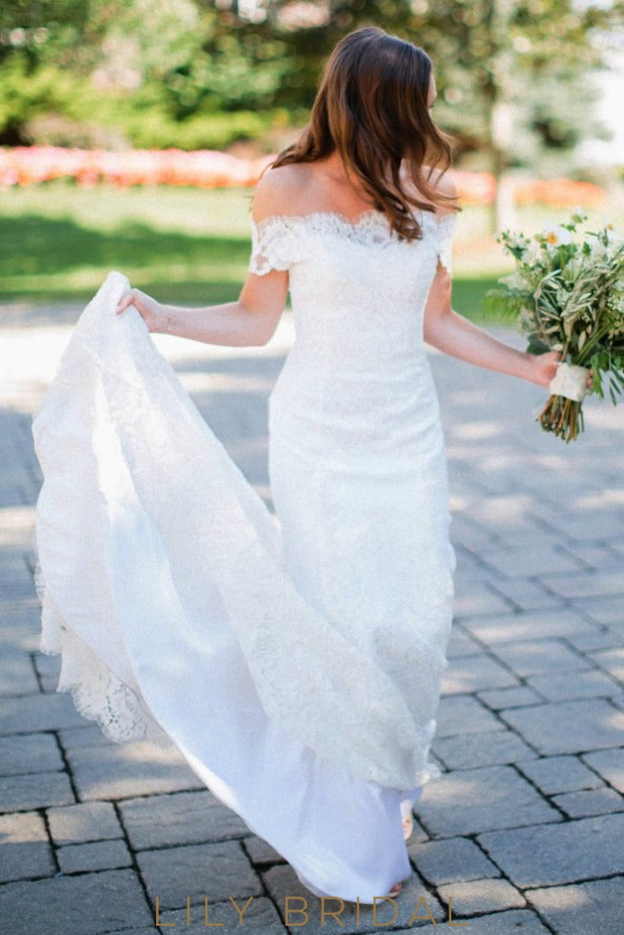 Fit and Flare Off-the-shoulder Swag Sleeves Wedding Dress