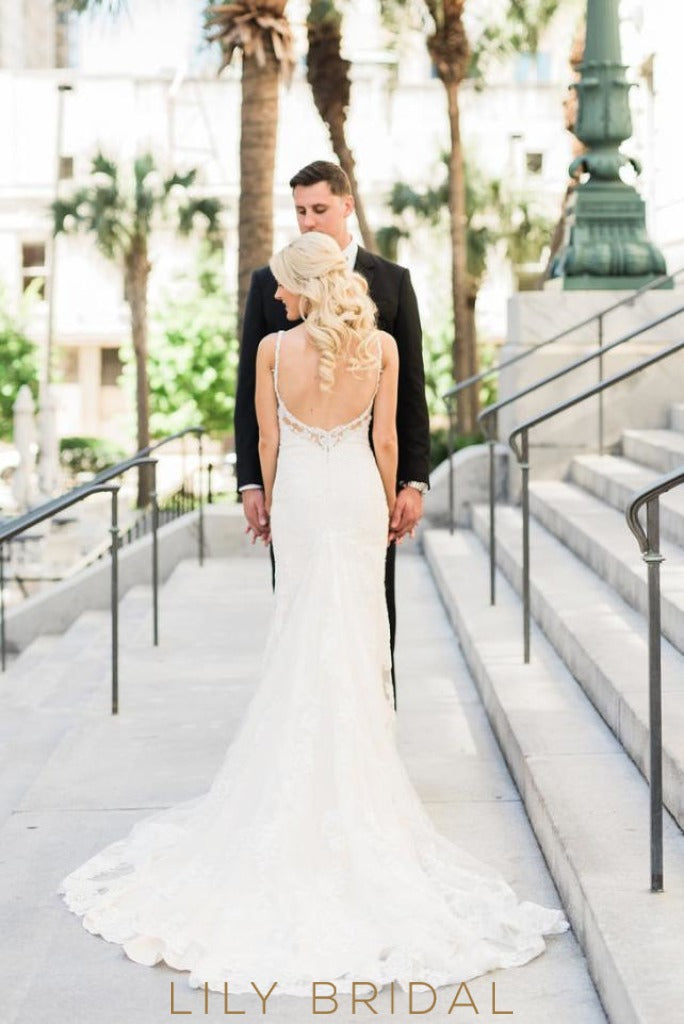 Fit and Flare V-neckline Wedding Dress