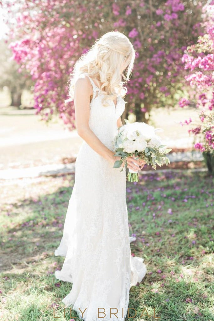 Fit and Flare V-neckline Ivory Lace Chapel Train Wedding Dress
