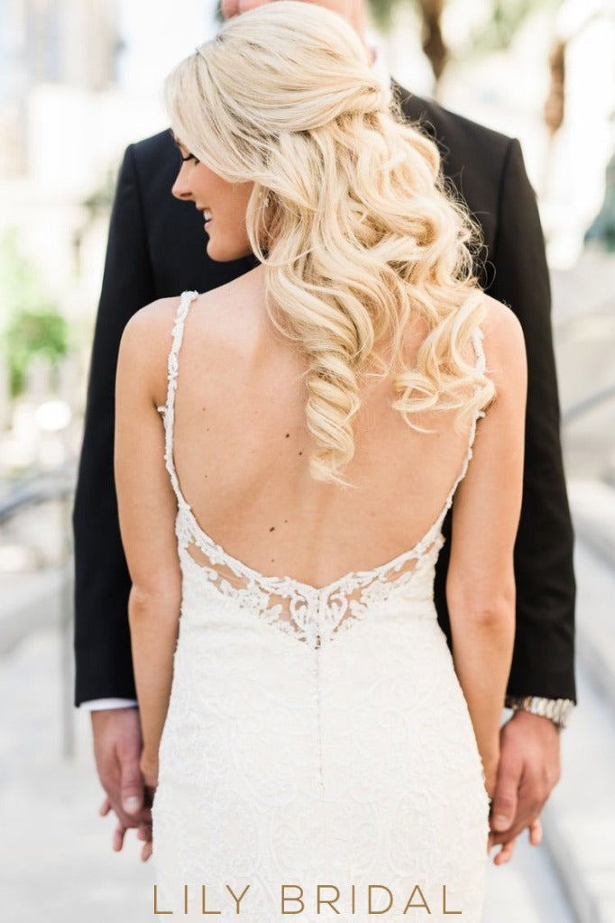 Fit and Flare V-neckline Ivory Lace Chapel Train