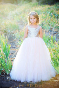 Floor Length Ball Gown Sleeveless Tulle Sequined Flower Girl Dresses