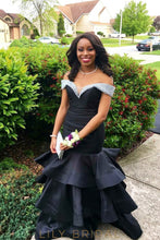 Floor Length Black Tiered Mermaid Queen Satin Prom Dress with Beads Off-the-Shoulder