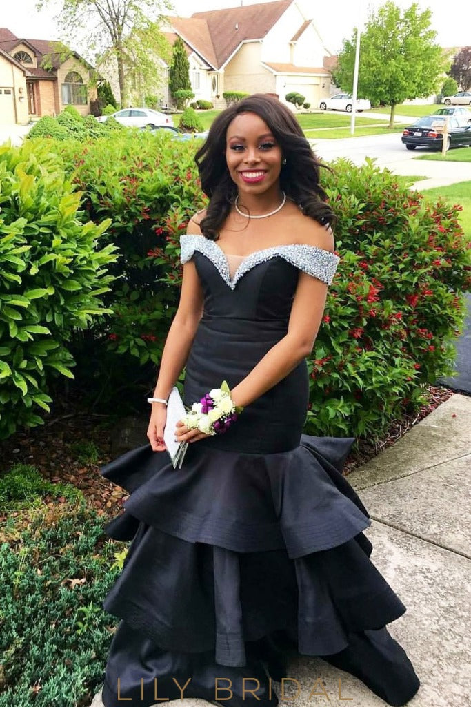 d5751b0938 Floor Length Black Tiered Mermaid Satin Prom Dress with Beaded Off -the-Shoulder