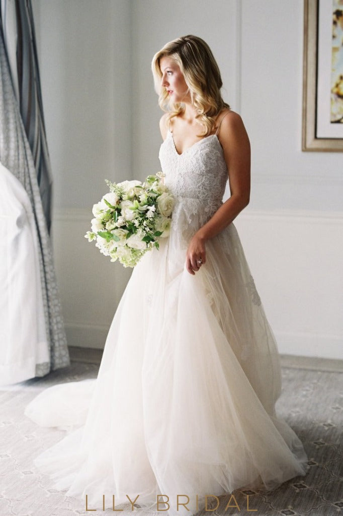 tulle wedding dress with lace appliqued bodice