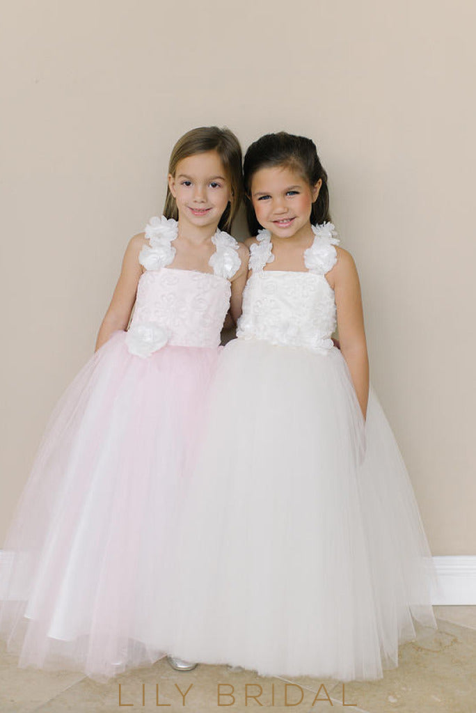 Tulle Strap Criss Cross Back Floor-Length Ball Gown Flower Girl Dress With Hand-Made Flower