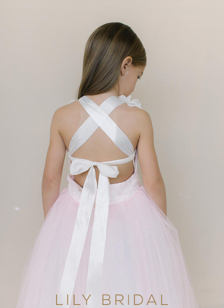 Tulle Strap Criss Cross Back Floor-Length Flower Girl Dress With Hand-Made Flower